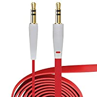 Act 3.5 MM Stereo Jack to Jack Flat Anti Tangle Aux Auxiliary Cable for all Phones iPads iPods Car stereos and any device with 3.5 aux input (Red 1m)