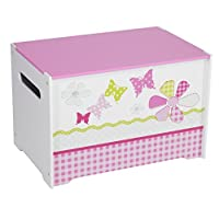Worlds Apart Kids Toy Box - Childrens Bedroom Storage Chest with Bench Lid by HelloHome