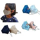 "El Regalo (Pack of 3)""4 Layers"" Super Soft Cotton Reversible, Reusable, Breathable & Washable Kids Masks | Kids Girls…"