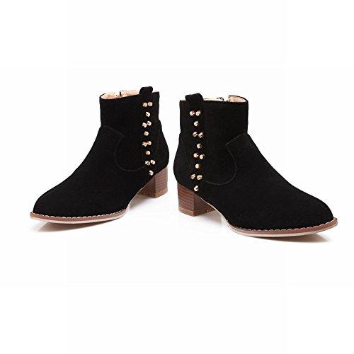 Mee Shoes Damen chunky heels Reißverschluss Ankle Boots Schwarz