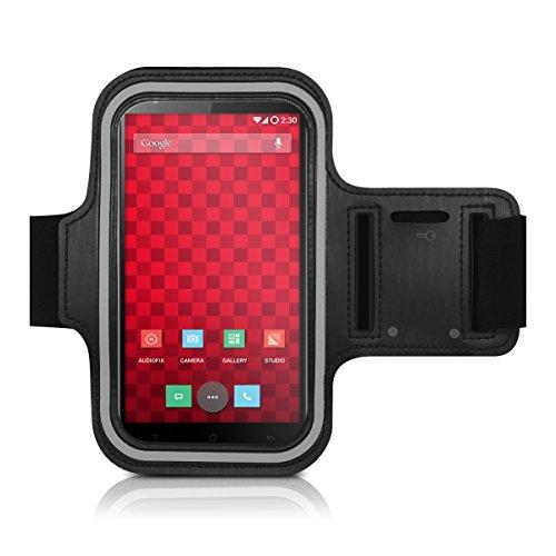 kwmobile fascia da braccio sportiva per OnePlus One - jogging corsa borsa da sport fascia fitness con scomparto per chiavi nella fascia da braccio in nero