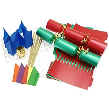 Christmas Crackers.10 X Make Your Own 14 Red Green Christmas Cracker Kit