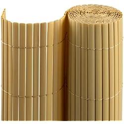 Jarolift PVC Sichtschutzmatte/Sichtschutzzaun für Garten, Balkon und Terrasse, 100 x 400 cm, bambus