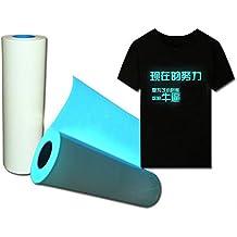 Brilla en la oscuridad camiseta vinilo ropa película luminoso prensa de calor vinilo transferencia color azul 50cm*100cm azul