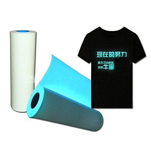 [Hoho] Glow in the Dark Rolle of T-Shirt Vinyl Heat Press Vinyl Transfer Cutter Plotter 50 * 100 cm blau