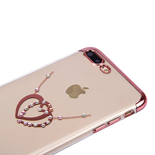 iPhone 7 Strass Hülle,iPhone 7 Handyhülle,JAWSEU Luxus Cool Kreative Shiny Sparkle Pfau Feder Muster Gold Plating Crystal Klar Silikon Bling Glitzer Shiny Bumper Case Schutzhülle Diamant Strass Weich  Rose Gold,Liebe Herz