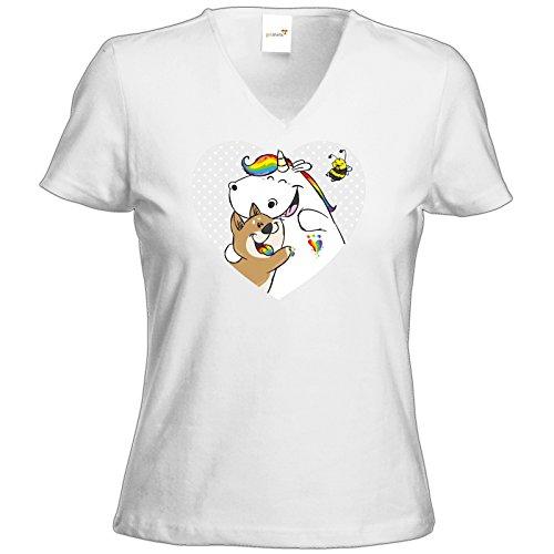 getshirts - Pummeleinhorn - T-Shirt Damen V-Neck - Pummel Bisu Hummel Weiß