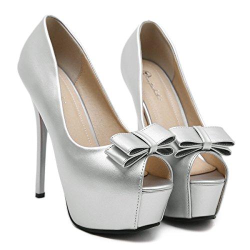 Damen Pumps Plateau Schleife Peep-Toe Stiletto Modisch Bequem Abend Party Schuhe Weiß