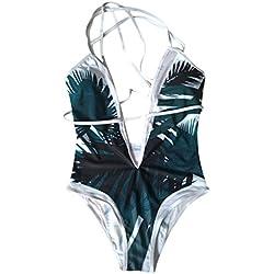Bañadores Deportivas Mujer, ❤️Xinantime Traje de baño de playa One Piece para mujer Traje de baño atractivo Bikini acolchado Push Up Monokini de baño (S, ❤️Blanco)