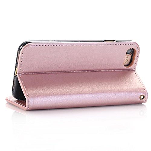 Folio Flip Stand Case Cover Per iPhone 7, Butterfly Rose Fiori praegeartig modello Premium PU Pelle Portafoglio Caso, Con supporto & Card Slots & chiusura magnetica suyan Oro rosa