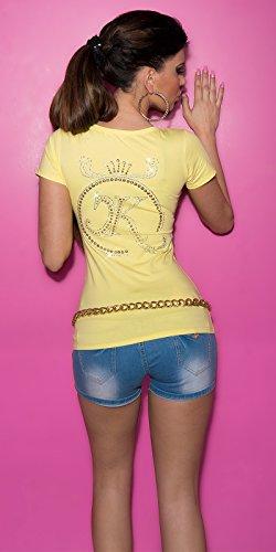 T-shirt à manches courtes pour femme avec strass top taille unique (32–38) Jaune - Jaune