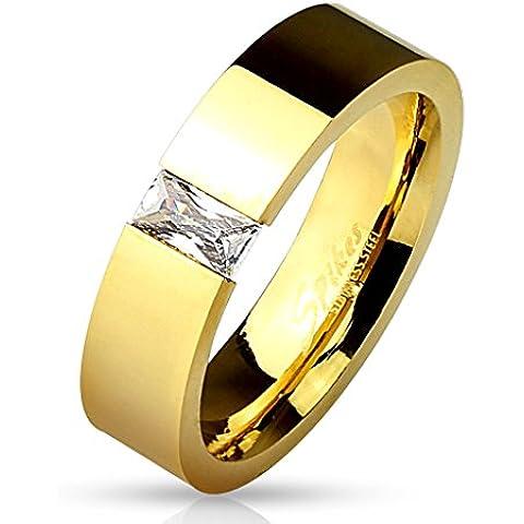 bungsa® Anello Gold (acciaio inossidabile–Anello da donna partner Anelli con strass rechteckigem anelli di fidanzamento TRAURINGE anello da donna Anello in acciaio inox acciaio chirurgico)