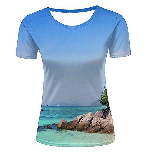 88d9869aa7ac Women T-Shirt 3D Digital Pinted Exotic Beach Island Tree Crewneck Casual tee  Shirt Tops XXL
