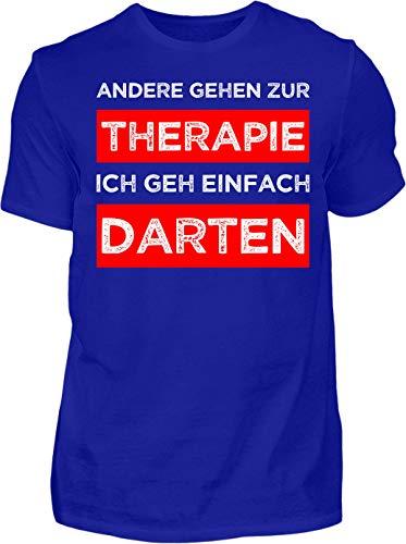 Kreisligahelden T-Shirt Herren Meine Therapie ist Darten - Kurzarm Shirt Baumwolle mit Spruch Aufdruck - Hobby Freizeit Fun Dart Darts 180 (XL, Blau)