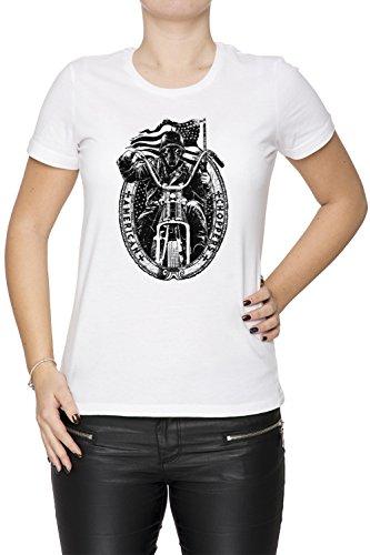American Choppers Donna T-shirt Bianco Cotone Girocollo Maniche Corte White Women's T-shirt