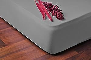DecoKing 04487 Spannbettlaken 140 x 200 - 160 x 200 cm Jersey Baumwolle Spannbetttuch, grau