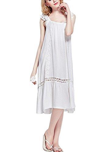 Cheerlife Wunderschön Damen Baumwolle Nachthemd mit Lochstickerei und Volants Schlafkleid Nachtkleid Nachtwäsche Sleepshirt lang (36(Hersteller Gr.M), Weiß)