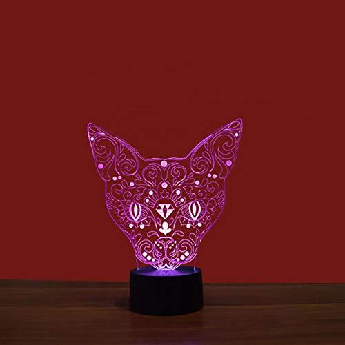 Yujzpl 3D Optische Illusions-Lampen, 3D Nachtlicht,Tolle 7 Farbwechsel-Nachtlicht Mit Usb Kabel-Für Kinder Schlafzimmer Geburtstagsgeschenke Geschenk-Ägyptische Katze