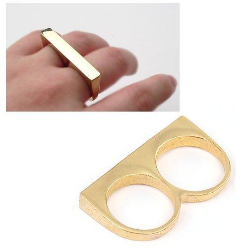 Gleader Anello in tono oro a doppio dito scintillante per ragazza
