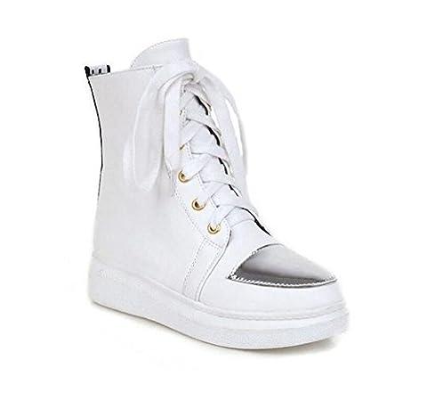 LDMB Ladies Round Toe Low pour aider le Front Lace Shoes Département Spell Color Student Shoes , white , 39