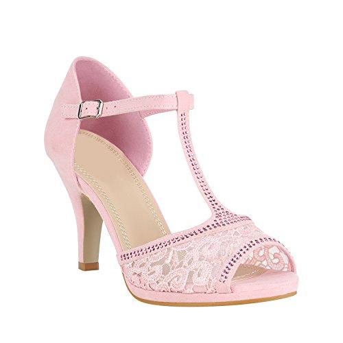 Stiefelparadies Riemchensandaletten Damen Schuhe Spitze Sandaletten Strass Stilettos 150449 Rosa Spitze 39 Flandell (Rosa Abend Sandalen)