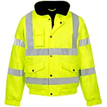 Hi Vis Viz Contractor Bomber Jacket High Visibility Safety Waterproof Coat 2 Tone