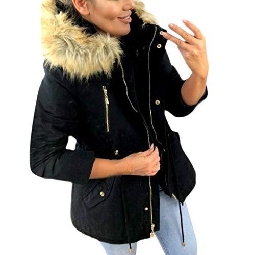 SANFASHION Damen Coat Mode Winter Warm Dick Brushed Zipped Hoodies Kapuzenjacke Military Winterjacke Lässig Kunstpelz Mantel Outwear