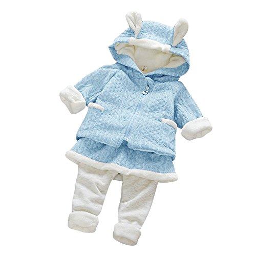 Jungen - Mädchen Kaninchen Druck Tops Mantel + Hosen Winter Outfits Kleidung Set (Halloween-baby-outfits Uk)