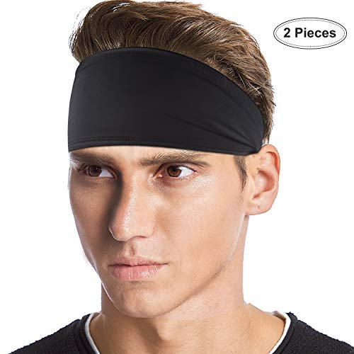 Nike Volleyball Spandex (BXIO Stirnband Sport Herren, Anti-Rutsch Dehnbar Feuchtigkeit Wicking Haarband für Laufen, Radfahren, Yoga, Fußball, Joggen und Tennis, Schwarz, 2 Set)