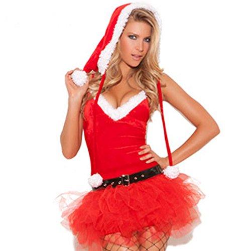 Vovotrade Signora Women Natale Babbo Natale rosso velluto del costume Dress Natale Fancy