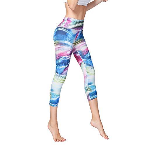 Power Stretch Tights (Hivexagon Damen Fitness-Capri-Hose Yoga Pants Active Laufhose Tights Power Stretch, sw002 Medium blau)