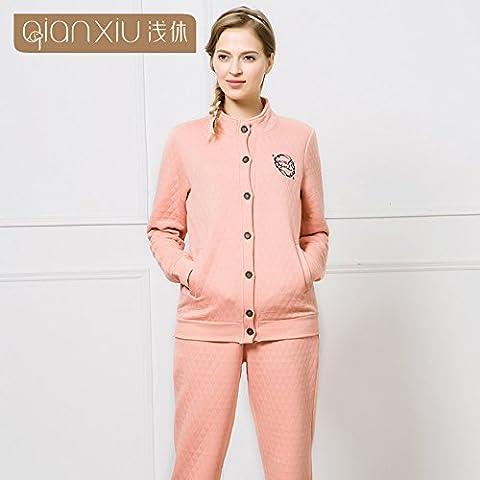 La Sra. Costuras de invierno de manga larga pantalones largos de algodón clip homewear nighties ,pink,m collar
