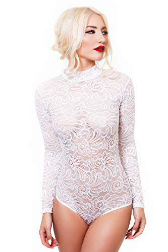 Evoni String-Body für Damen XXL=44 | Spitzen-Body mit Halbkragen in Weiß | Transparenter Langarm-Body | Frauen Bodysuit | Damen Dessous | Florale Spitze | Verschluss-Haken | eleganter Jumpsuit Floral Langarm Body