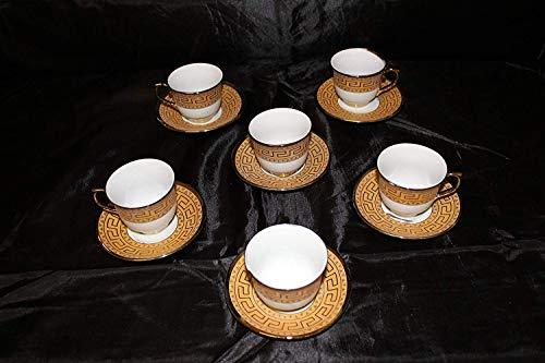Medusa Designer Espresso Service Gedeck Teller & Tassen Porzellan für 6 Personen