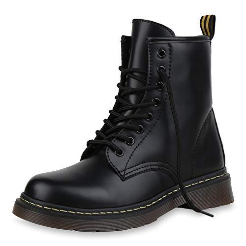 SCARPE VITA Damen Stiefeletten Worker Boots Profilsohle Stiefel Outdoor Schuhe 173511 Schwarz 38