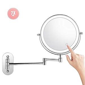 Himimi Kosmetikspiegel LED Beleuchtet mit 1x/ 7xFach Vergrößerung Schminkspiegel, wandmontage Kosmetikspiegel mit Touch…
