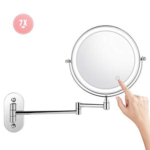 Athomestore Kosmetikspiegel LED Beleuchtet mit 1x/ 7xFach Vergrößerung Schminkspiegel, wandmontage Kosmetikspiegel mit Touch Button Einstellbar Licht, 360° Schwenkbar und Vertikal -