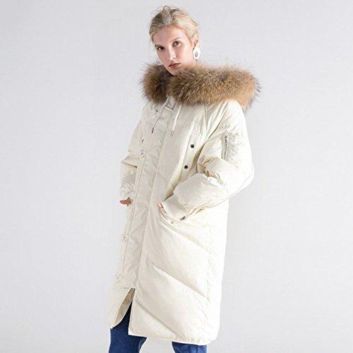 MRX Wintermantel im Langen AbschniDer Waschbären Pelzkragen Daunenjacke Frauen Großer Pelzkragen Daunenjacke,Weiß,M
