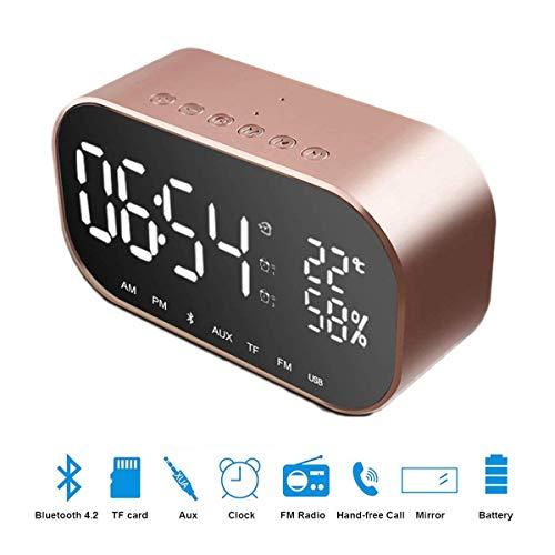Bedside Clock Bluetooth Lautsprecher,SUAVER Wireless Subwoofer Stereo-Lautsprecher,Bedside Digital Wecker,eingebaute Mic FM Bildschirm Disply,Unterstützung TF-Karten(Rose Gold) -