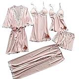 5 PCS Camicie da Notte Donna Topgrowth Pigiama Raso Seta Indumenti da Notte con Pizzo Canotta + Pantaloni Lunghi + Abiti Set (F, M)