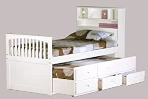 WHITE BOOKCASE BED TWIN CAPTAIN BED W\/TRUNDLE BED AND 3 DRAWERS STORAGE: Amazon.co.uk: Kitchen