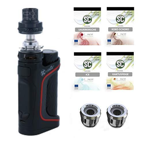 E-Zigarette SC produced by Eleaf Pico S Schwarz iStick 100 W Starterset | TC Temperaturregelung | inkl 4 x SC Liquid Frucht Ice - 00mg Rauchen ohne Nikotin