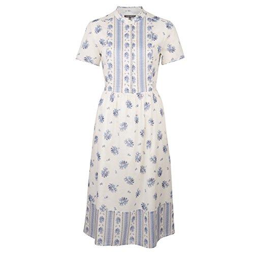Laura Ashley Floral Print Blue Cream Tie Waist Dress