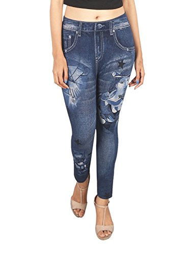 Zacharias Denim Look Legging With Flora Print & Damage Effect Free Size (mix colors & Prints)  available at amazon for Rs.395