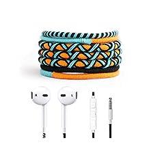 Crossloop Designer Series 3.5mm Universal In-Ear Headphones With Mic And Volume Control (Dark Orange, Sky Blue & Dark Blue Combination)