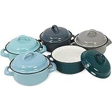 COM-FOUR ® 5X Pirofila da forno con coperchio in porcellana, Pastete Stampini per esempio Creme Brulee in grigio, Grigio scuro, Verde scuro, azzurro e turchese, 200ML