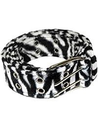 Gürtel mit Fell Zebra schwarz weiß mit Ösen Größen 110