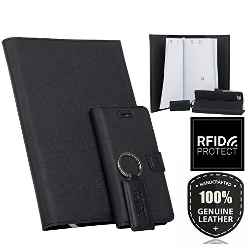 SURAZO Leder Geschenkset - Handy Schutzhülle, Kalender, Schlüsselring aus Echtesleder Dakota Farbe Schwarz für Samsung Galaxy Note 5 (N920)