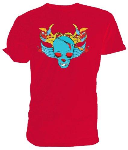 Bird Skull T Shirt, Emo, Goth Rosso