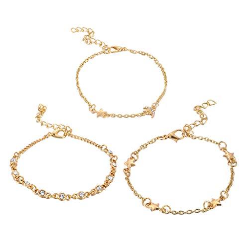 ToDIDAF 3 Stück Mode Armbänder für Frauen Mädchen Einfache Star Moon Kombination Armband Schmuck Geeignet für Strand Sommerferien Reisen Party Weihnachten Valentinstag